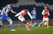 GEDION ZELALEM shoots during the Barclays U21 Premier League match between Brighton U21 and Arsenal U21 at the American Express Community Stadium, Brighton and Hove, England on 1 December 2014.