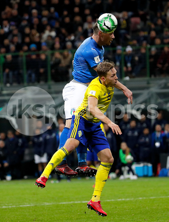 during the 2018 World Cup Qualifying Play-Off match between Italy and Sweden at Stadio San Siro, Milan, Italy on 13 November 2017. Photo by Roberto Bregani.