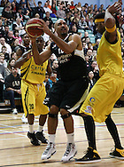 Guildford, England, Sunday 21st March 2010:  Charles Smith of Newcastle gets under the basket during the  BBL Trophy Final between Cheshire Jets and Newcastle Eagles at the Guildford Spectrum, Surrey, UK. Final score Cheshire 95-111 Newcastle.  (photo by Andrew Tobin/SLIK images)