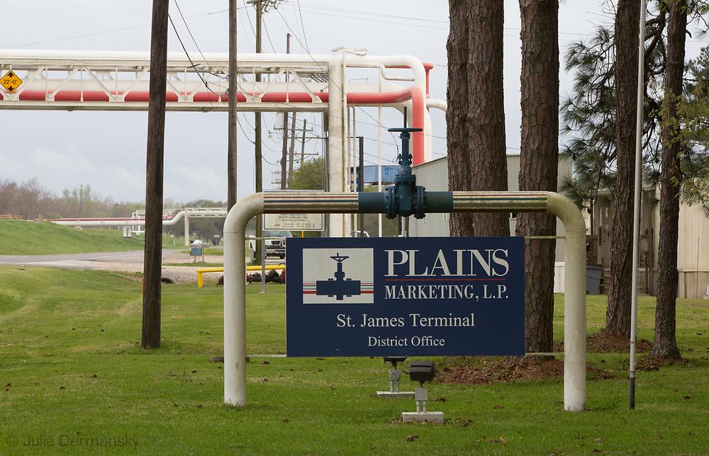 Plains Marketing L.P St. James Terminal in St. James, LA where the Bayou Bridge Pipeline will end if built.