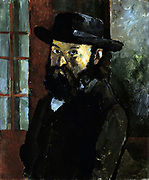 Self-portrait in a Black Hat', c1879. Oil on canvas. P;aul Cezanne (1839-1906) French Post-Impressionist painter.