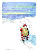 (Polar bear gives Santa Claus directions)