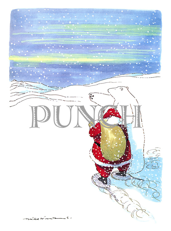 (Polar bear gives Santa Claus directions)