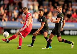 Luke Leahy of Walsall chips a ball forward - Mandatory by-line: Paul Roberts/JMP - 18/07/2017 - FOOTBALL - Bescot Stadium - Walsall, England - Walsall v Aston Villa -  Pre-season friendly