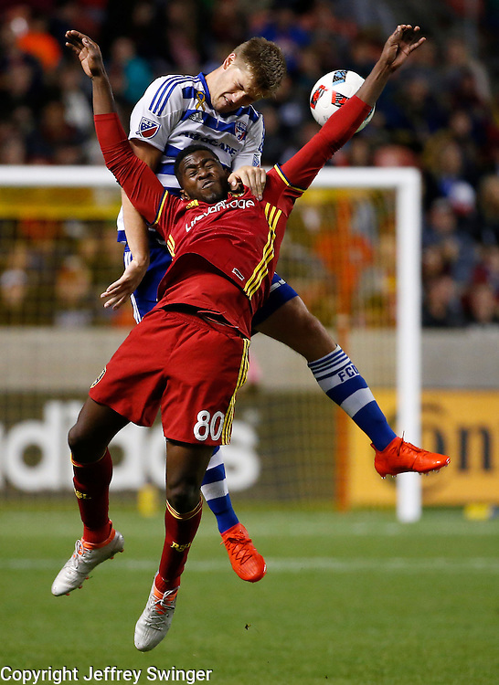 Sep 24, 2016; Sandy, UT, USA;  Real Salt Lake forward Olmes Garcia (80) and FC Dallas defender Walker Zimmerman (25) battle for the ball in the second half at Rio Tinto Stadium. The game ended 0-0. Mandatory Credit: Jeff Swinger-USA TODAY Sports