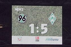 13.02.2010, AWD Arena, Hannover, GER, Hannover 96 vs SV Werder Bremen, Spieltag 22, im Bild Anzeigetafel zum Spiel 1 zu 5, EXPA Pictures © 2010 for Austria only, Photographer EXPA / NPH / Arend / Sportida.com