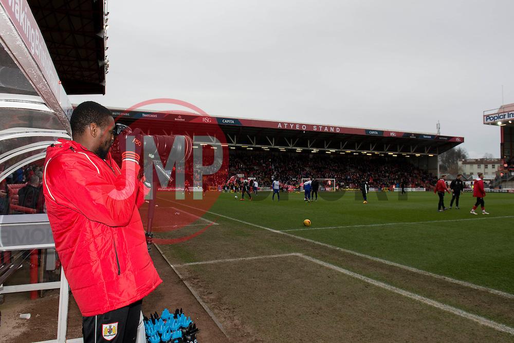 Bristol City's Jay Emmanuel-Thomas takes photos - Photo mandatory by-line: Dougie Allward/JMP - Mobile: 07966 386802 - 28/02/2015 - SPORT - football - Bristol - Ashton Gate - Bristol City v Rochdale AFC - Sky Bet League One