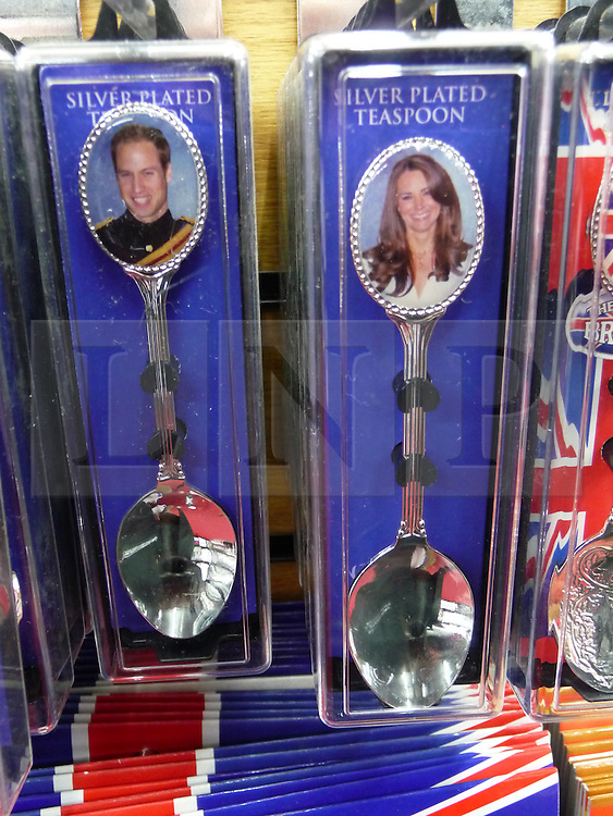 © under license to London News Pictures.  .William and Kate souvenirs ahead of the Royal Wedding in April 2011..Teaspoons of the Royal Couple..Photo credit should read Craig Shepheard / London News Pictures