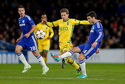 Cesc Fabregas of Chelsea is challenged by Adrien Silva of Sporting - Photo mandatory by-line: Rogan Thomson/JMP - 07966 386802 - 10/12/2014 - SPORT - FOOTBALL - London, England - Stamford Bridge - Sporting Clube de Portugal - UEFA Champions League Group G.