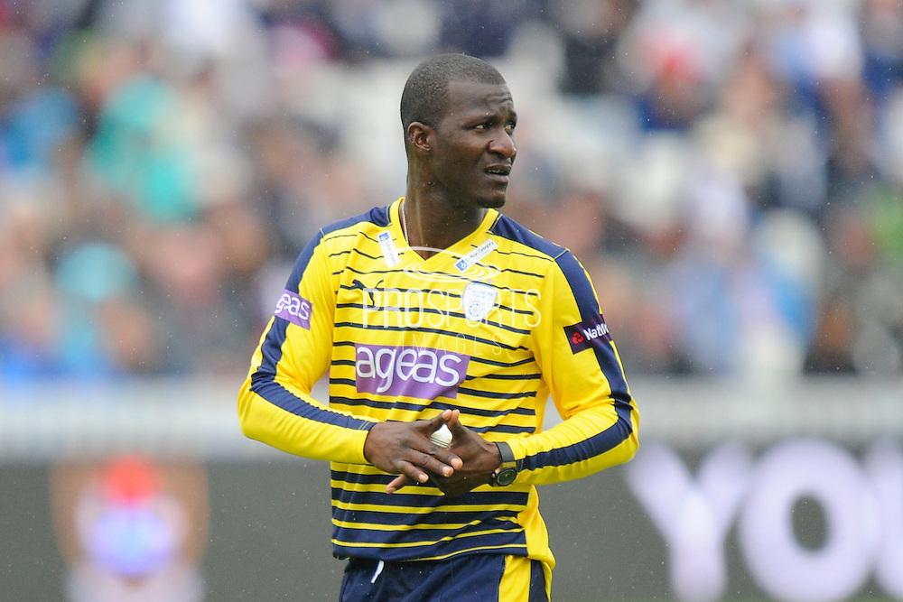 Hampshire's Darren Sammy during the NatWest T20 Blast South Group match between Somerset County Cricket Club and Hampshire County Cricket Club at the Cooper Associates County Ground, Taunton, United Kingdom on 19 June 2016. Photo by Graham Hunt.