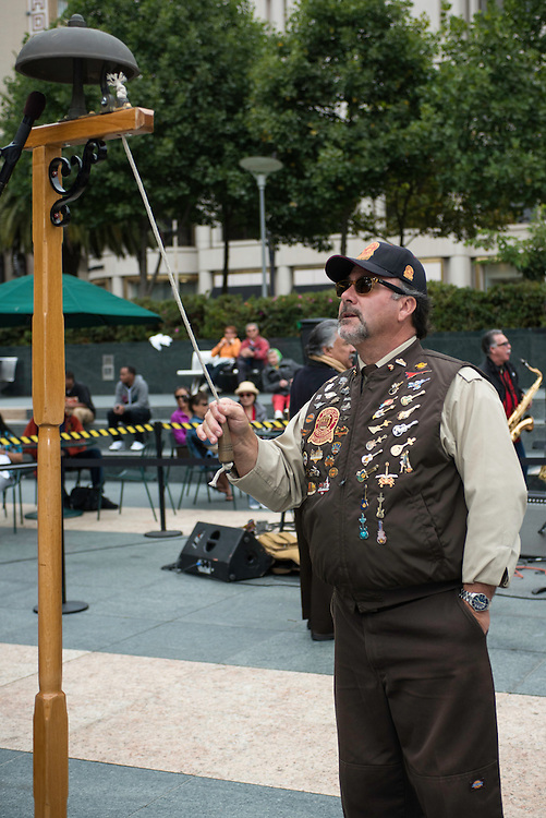 Ken Lunardi practices before the 50th Cable Car Bell Ringing Competition in San Francisco's Union Square | July 11, 2013