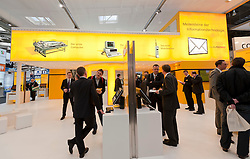 Deutsche Post stall at CeBIT 2011 digital and electronics trade fair in Hannover March 2011 Germany