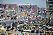 TIANJIN, CHINA - AUGUST 17: (CHINA OUT) <br /> <br />  Rescuers work at the blast site after the warehouse explosion on August 17, 2015 in Tianjin, China. The death toll rose to 114 on Monday after the last Wednesday night\'s explosion of a warehouse in Binhai New Area of Tianjin. <br /> ©Exclusivepix Media