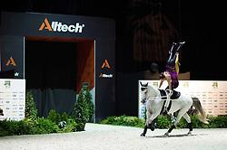 Blanka Nemeth, Kornelia Acs, (HUN), Zakarias, Natalia Sandor - Pas de Deux Vaulting - Alltech FEI World Equestrian Games™ 2014 - Normandy, France.<br /> © Hippo Foto Team - Jon Stroud<br /> 04/09/2014