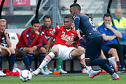 ALKMAAR - 23-08-15, AZ - Willem II, AFAS Stadion, 0-0, AZ speler Dabney dos Santos Souza, Willem II Speler Funso Ojo (r).