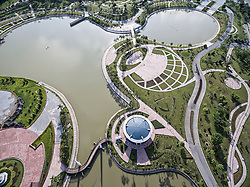 Aerial view of Hanoi Peace Park, Tu Liem District, Hanoi, Vietnam Southeast Asia