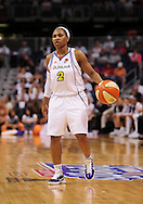 Aug 26, 2010; Phoenix, AZ, USA; Phoenix Mercury guard Temeka Johnson (2) dribbles the ball against the San Antonio Silver Stars during the first half in game one of the western conference semi-finals in the 2010 WNBA Playoffs at US Airways Center.  The Mercury defeated the Silver Stars 106-93.  Mandatory Credit: Jennifer Stewart-US PRESSWIRE