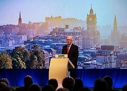 Edinburgh, Scotland, UK. 27 April, 2019. SNP ( Scottish National Party) Spring Conference takes place at the EICC ( Edinburgh International Conference Centre) in Edinburgh. Michael Russell MSP ,Cabinet Secretary for Government Business and Constitutional Affairs,  making welcome address to delegates.