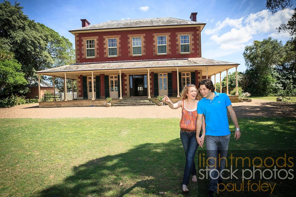 Couple exploring Tocal House, near Maitland, NSW, Australia