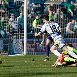 Darren McGregor (Hibernian) brings down  Jamie McDonagh (Morton FC)  in the box during the Ladbrokes Championship match between Greenock Morton &amp; Hibernian at Cappielow Stadium on 8 April 2017<br /> <br /> Picture: Alan Rennie