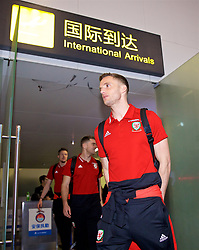 NANNING, CHINA - Monday, March 19, 2018: Wales' Andy King arrives at Nanning International Airport for the 2018 Gree China Cup International Football Championship. (Pic by David Rawcliffe/Propaganda)