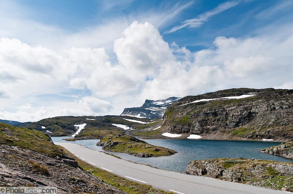 Aurlandsvegen mountain road between Aurland and Lærdal crosses wild alpine scenery in Sogn og Fjordane county, Norway.