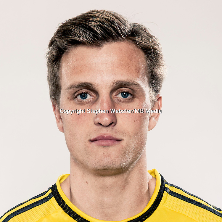 Jan 24, 2015; USA; Columbus Crew player Aaron Schoenfeld poses for a photo.