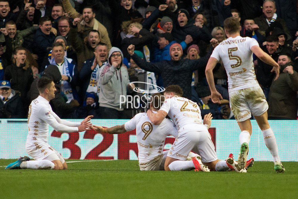 Leeds United celebrate as Leeds United Forward Pierre-Michel Lasogga scores to take leeds into the lead 3-2 during the EFL Sky Bet Championship match between Leeds United and Millwall at Elland Road, Leeds, England on 20 January 2018. Photo by Craig Zadoroznyj.