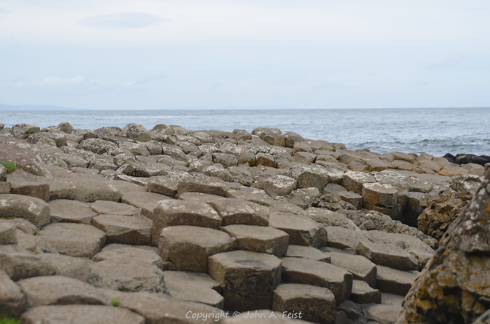 The stones of the Giant's Causeway looking off to sea.  County Antrim, Northern Ireland