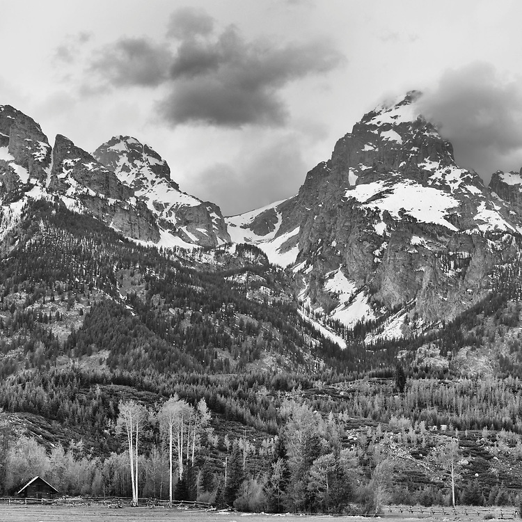 View looking toward the Taggert Lake Trail in Grand Teton National Park, WY.