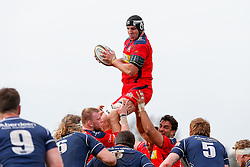 Bristol Rugby Lock Mark Sorenson (capt) wins a lineout - Mandatory byline: Rogan Thomson/JMP - 02/04/2016 - RUGBY UNION - Richmond Athletic Ground - London, England - London Scottish v Bristol Rugby - Greene King IPA Championship.