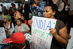 "Emergency India Solidarity Rally taking place on 21 July at the 2016 International AIDS Conference in Durban, South Africa, demanding that the South African government makes a statement against what protestors describe as ""The Modi Government's attacks on generic medicine and comrades from the lawyers collective"", which they state ""echoes the apartheid system previously prevalent in South Africa."
