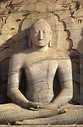 Seated figure at the Gal Vihara at Polonnaruwa. A UNESCO World Heritage site.