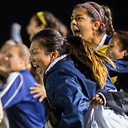 The University of California-Irvine women's soccer team reacts to their shootout victory over California State-Fullerton at George Allen Field in Long Beach, Calif., on Nov. 3, 2016.