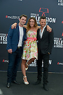 "Brian Joubert, Italian dancer Silvia Notargiacomo and Canadian dancer Christian Millette pose at a photocall for the TV series 'Dance with star"" during the 55th Monte Carlo TV Festival on June 14, 2015 in Monte-Carlo, Monaco"
