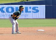 PHOENIX, AZ - FEBRUARY 23:  Hiroyuki Nakajima #3 of the Oakland Athletics leads off second base during the spring training game against the Milwaukee Brewers at Maryvale Baseball Park on February 23, 2013 in Phoenix, Arizona.  (Photo by Jennifer Stewart/Getty Images) *** Local Caption *** Hiroyuki Nakajima