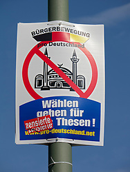 Anti-Islamic party political election poster by pro Germany Citizens' Movement Party in Berlin Germany before elections on 18 September 2011