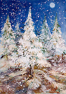 a painted christmas tree at night with falling snow