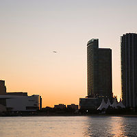 Miami skyline with American Airlines Arena at dusk