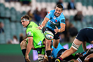 SYDNEY, NSW - MAY 19: Waratahs player Jake Gordon passes the ball at week 14 of the Super Rugby between The Waratahs and Highlanders at Allianz Stadium in Sydney on May 19, 2018. (Photo by Speed Media/Icon Sportswire)