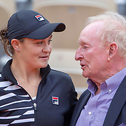 PARIS, FRANCE June 08.  Ashleigh Barty of Australia congratulated by Australian tennis legend Rod Laver after her victory against Marketa Vondrousova of the Czech Republic on Court Philippe-Chatrier during the Women's Singles Final match at the 2019 French Open Tennis Tournament at Roland Garros on June 8th 2019 in Paris, France. (Photo by Tim Clayton/Corbis via Getty Images)