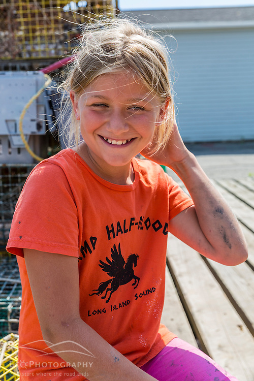 Ana Underhill (age 11) has a student license and fishes 10 lobster traps from the Friendship Lobster Co-op in Friendship, Maine.