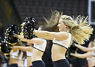 February 11 2013: The Iowa Hawkeyes dance team performs during the first half of the NCAA women's basketball game between the Nebraska Cornhuskers and the Iowa Hawkeyes at Carver-Hawkeye Arena in Iowa City, Iowa on Monday, February 11 2013.