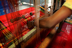 BANGLADESH SIRAJGANJ KODDAR MOR 1FEB07 - Detail of hand-made sari fabric on handlooms. Records of an indigenous weaving industry based on handlooms producing cotton fabrics date back to the 13th century in this area...jre/Photo by Jiri Rezac..© Jiri Rezac 2007..Contact: +44 (0) 7050 110 417.Mobile:  +44 (0) 7801 337 683.Office:  +44 (0) 20 8968 9635..Email:   jiri@jirirezac.com.Web:    www.jirirezac.com..© All images Jiri Rezac 2007 - All rights reserved.