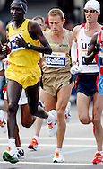 Stefano Baldini , of Italy9 (C), runs in the 2006 New York City Marathon in first place on Sunday 05 November 2006<br />