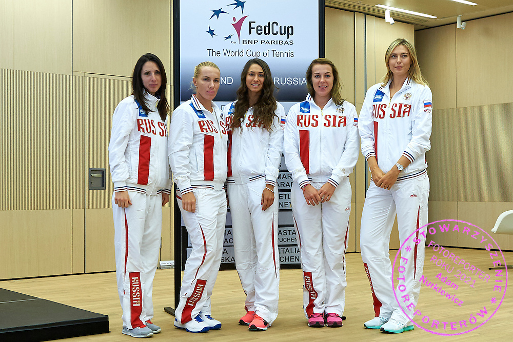 (L-R) Trainer coach Anastasia Myskina and Svetlana Kuznetsova and Vitalia Diatchenko and Anastasia Pavyuchenkova and Maria Sharapova all from Russia during official draw one day before the Fed Cup / World Group 1st round tennis match between Poland and Russia at Holiday Inn on February 6, 2015 in Cracow, Poland.<br /> <br /> Poland, Cracow, February 6, 2015<br /> <br /> Picture also available in RAW (NEF) or TIFF format on special request.<br /> <br /> For editorial use only. Any commercial or promotional use requires permission.<br /> <br /> Adam Nurkiewicz declares that he has no rights to the image of people at the photographs of his authorship.<br /> <br /> Mandatory credit:<br /> Photo by &copy; Adam Nurkiewicz / Mediasport