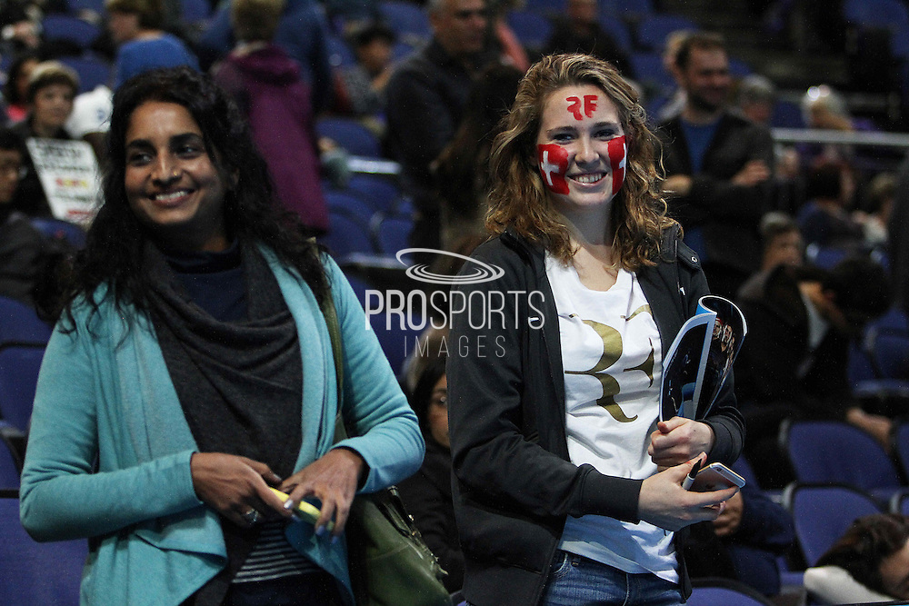 Roger Federer fan during the Semi Final of Barclays ATP World Tour 2014 between Switzerland's Roger Federer and Switzerland's Stan Wawrinka, O2 Arena, London, United Kingdom on 15th November 2014 © Pro Sports Images