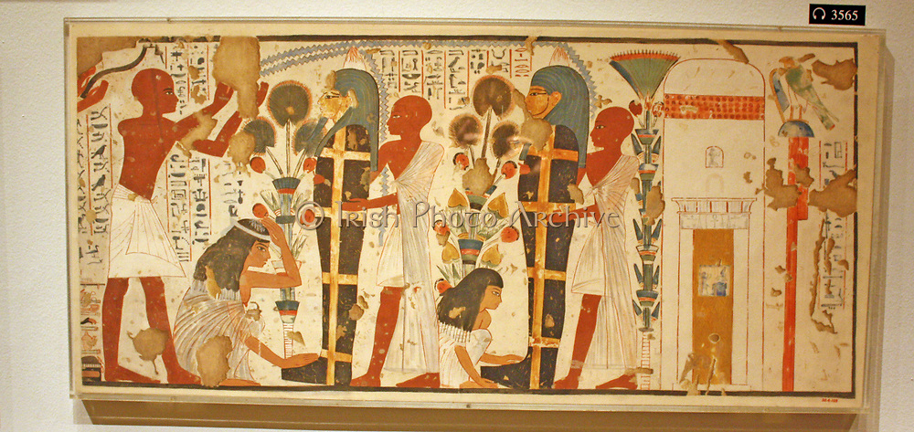 Egyptian wall paintings from The New Kingdom, facsimies of ancient Egyptian wall decoration.  They are accurate copies of original scenes, exact in line and colour and, with a few exceptions, at a scale of 1:1.