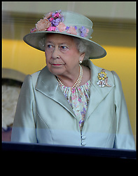 Image ©Licensed to i-Images Picture Agency. 18/06/2014. Ascot, United Kingdom. HM The Queen in the Royal Box for Day 2 of Royal Ascot at Ascot Racecourse. Picture by Andrew Parsons / i-Images