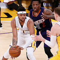 06 November 2016: Los Angeles Lakers guard D'Angelo Russell (1) passes the ball to Los Angeles Lakers center Timofey Mozgov (20) during the LA Lakers 119-108 victory over the Phoenix Suns, at the Staples Center, Los Angeles, California, USA.